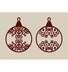 Christmas balls with lace pattern vector