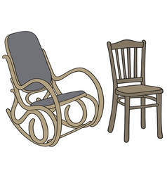 Classic wooden rocker and chair vector