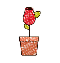 Color pencil drawing of red rosebud with leaves vector
