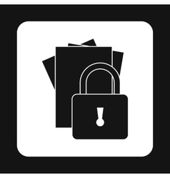 Document protection icon simple style vector image vector image