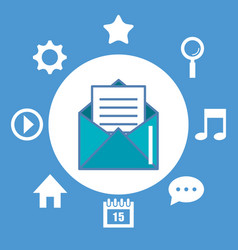Email envelope and icons multimedia digital vector