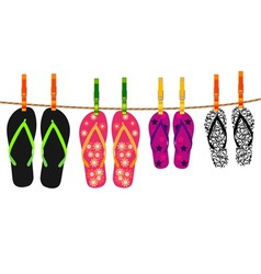 Family flip flops with rope and clothespins vector image vector image