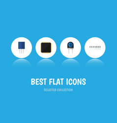 flat icon device set of transducer receptacle vector image vector image