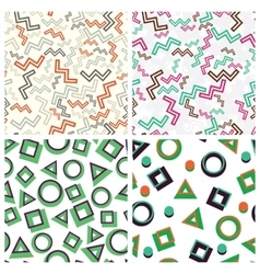 Flat simple geometric shapes in seamless pattern vector