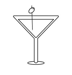Glass cocktail martini with olive outline vector