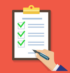 hand filling checklist on clipboard vector image