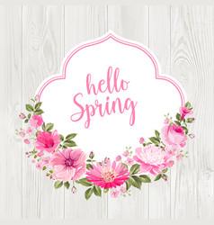 Hello spring card over gray wooden texture vector