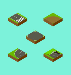 Isometric road set of pedestrian way sand vector