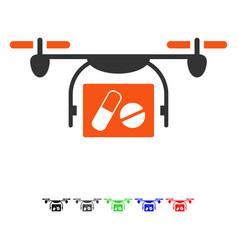 Medical quadcopter flat icon vector