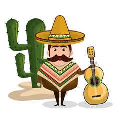 Mexican man comic character vector