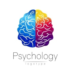 Modern brain logo of psychology human creative vector