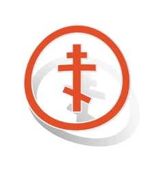 Orthodox cross sign sticker orange vector image