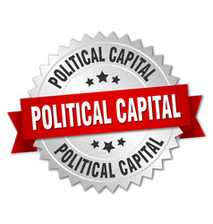Political capital round isolated silver badge vector
