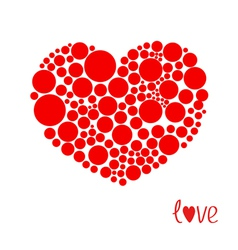 Red heart made from many round dots Love card vector image