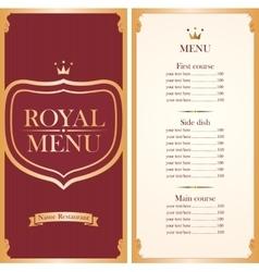 Royal menu for a cafe or restaurant vector