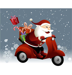 Santa Claus riding a scooter vector image vector image