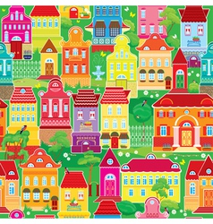Seamless pattern with decorative colorful houses s vector image