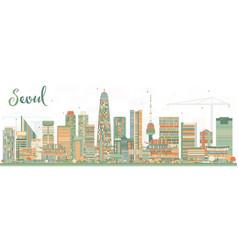 Seoul korea city skyline with color buildings vector