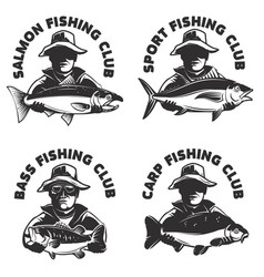 set of fishing club labels templates fisherman vector image