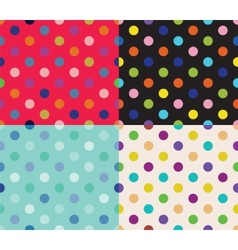 Set of four polka dot patterns vector image vector image