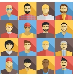 Set of Men Avatars Icons Colorful Male Faces vector image vector image