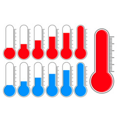 thermometer blue and red scale vector image vector image