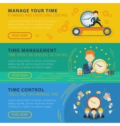Time Management Horiizontal Banners Set vector image vector image