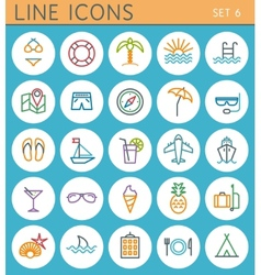 Travel line icons set web design elements vector image vector image