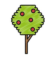 Tree plant pixelated icon vector
