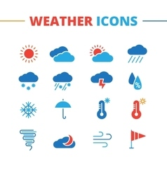 Weather icons set minimalistic flat style vector