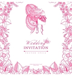 wedding invitation zentangle vector image