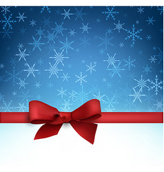 Winter background with red bow vector image vector image