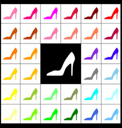 Woman shoe sign felt-pen 33 colorful vector