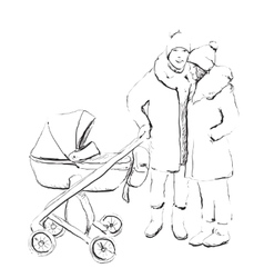 Young married couple walking with they newborn vector