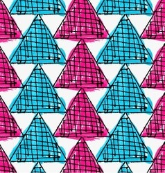 Artistic color brushed blue pink triangles vector
