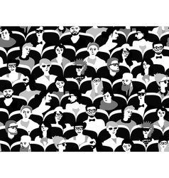 Audience group people sitting black and white vector