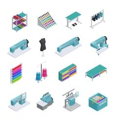 Garment factory isometric icon set vector