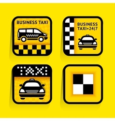 Taxi - set labels square on the yellow background vector image