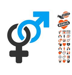heterosexual symbol icon with dating bonus vector image