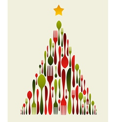 Christmas tree cutlery vector