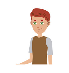 Avatar young boy hairred smile wearing tshirt vector