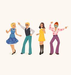 Dancing people in retro style vector