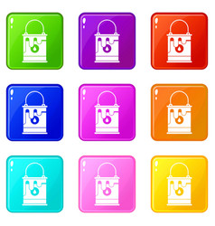 bucket with paint icons 9 set vector image