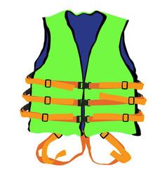 Green life jacket vector