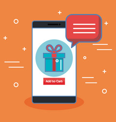 Buy now in the cellphone gift bubble speech over vector