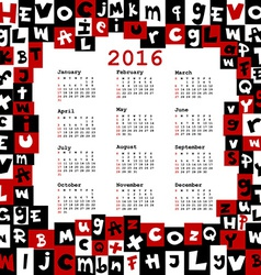 2016 calendar with letters vector image