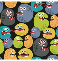 Seamless pattern with colorful virus monsters vector