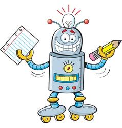Cartoon Robot Student vector image