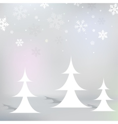 Christmas snowy background with christmas trees vector