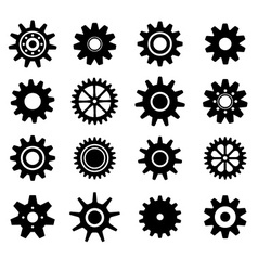 Gear cogs wheels icons set vector image
